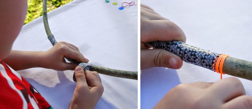 Decorando el arco de indio diy con washi-tape y gomets2