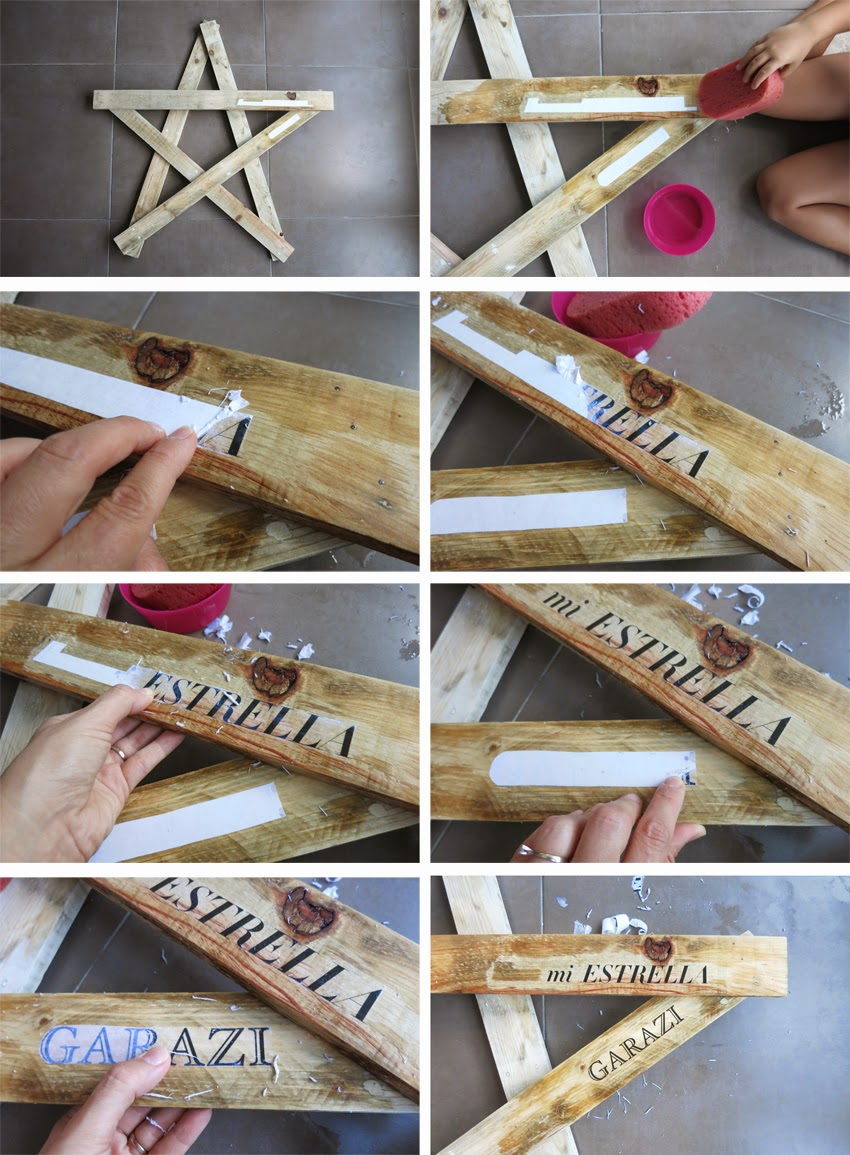 Diy estrella con madera de palet_ cómo transferir con gel medium e impresión de impresora láser