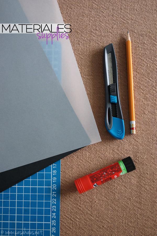 DIY Halloween paper lantern supplies // Materiales para el portavelas de Halloween // Casa Haus