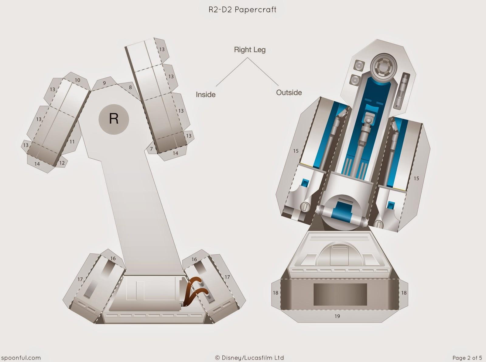 Descargable imprimible de R2-D2 de la saga de Star Wars para maqueta 3d-3