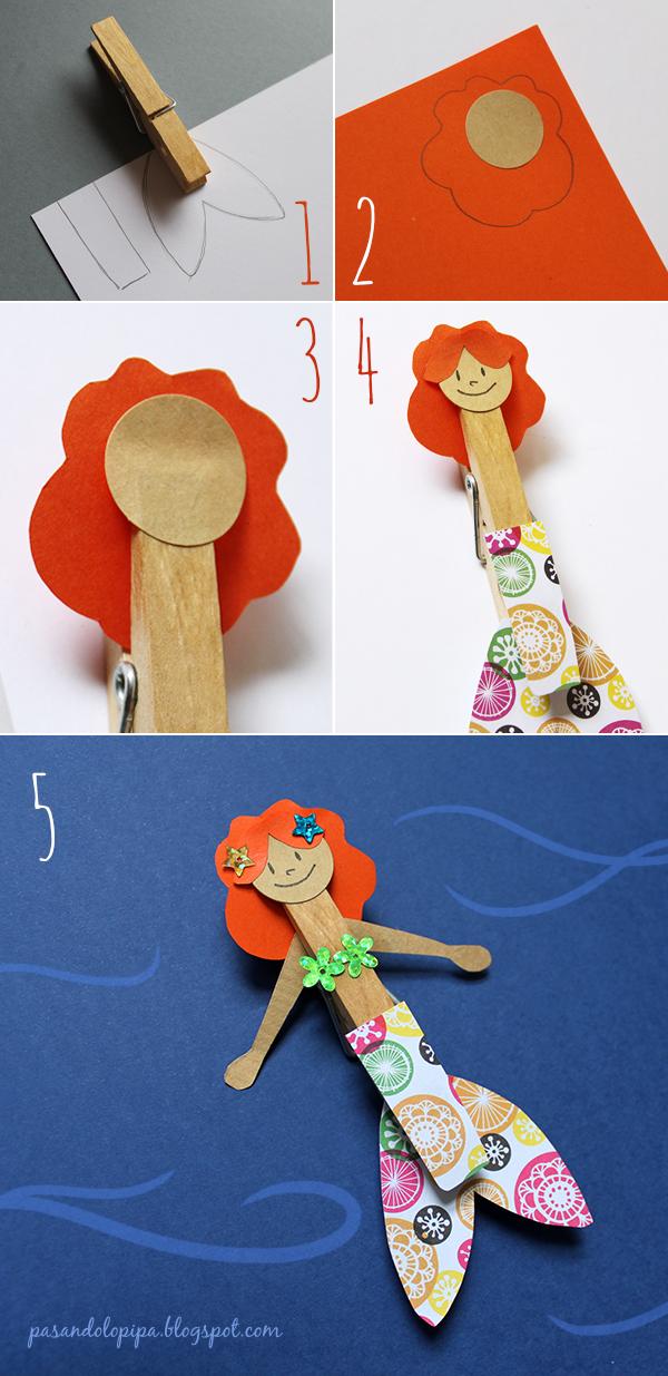 pasandolopipa   pasos para la realización de la sirenita hecha de pinzas de tender y papel