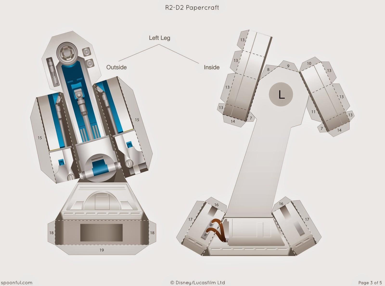 Descargable imprimible de R2-D2 de la saga de Star Wars para maqueta 3d-4