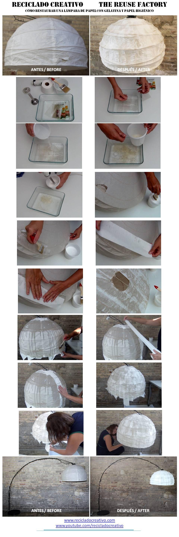 Lampara de papel regolit ikea restarurada con gelatina y papel higienico