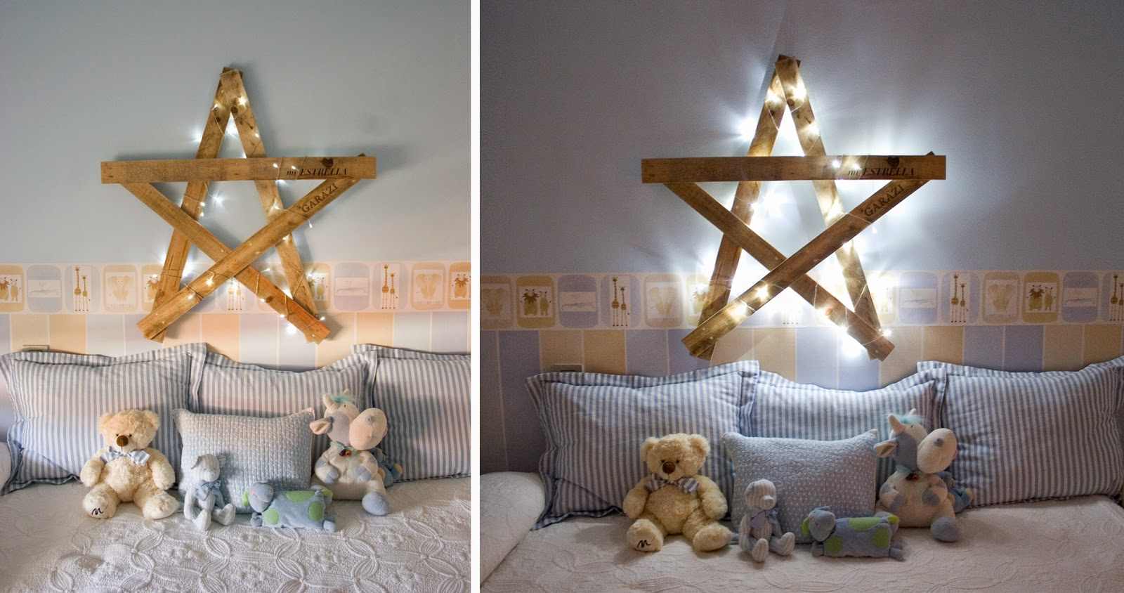 Diy estrella con madera de palet_ estrella con guirnalda de pequeñas luces