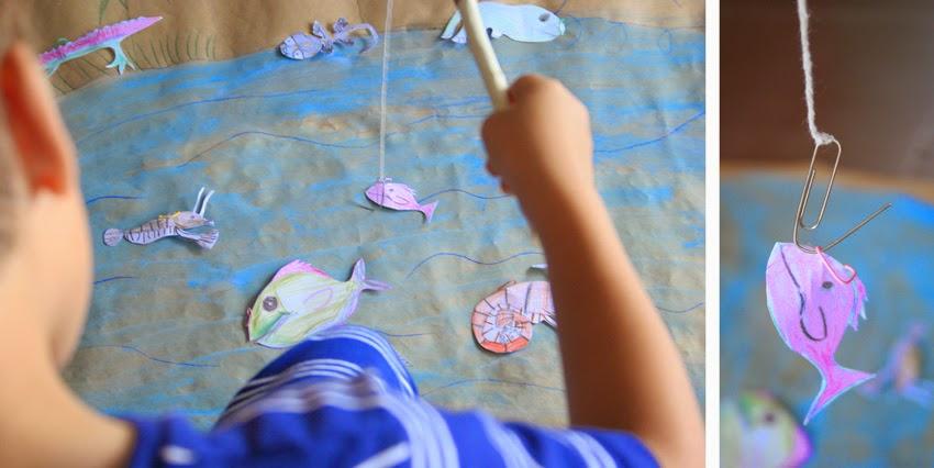 Juego de pesca con clip handmade manualidad