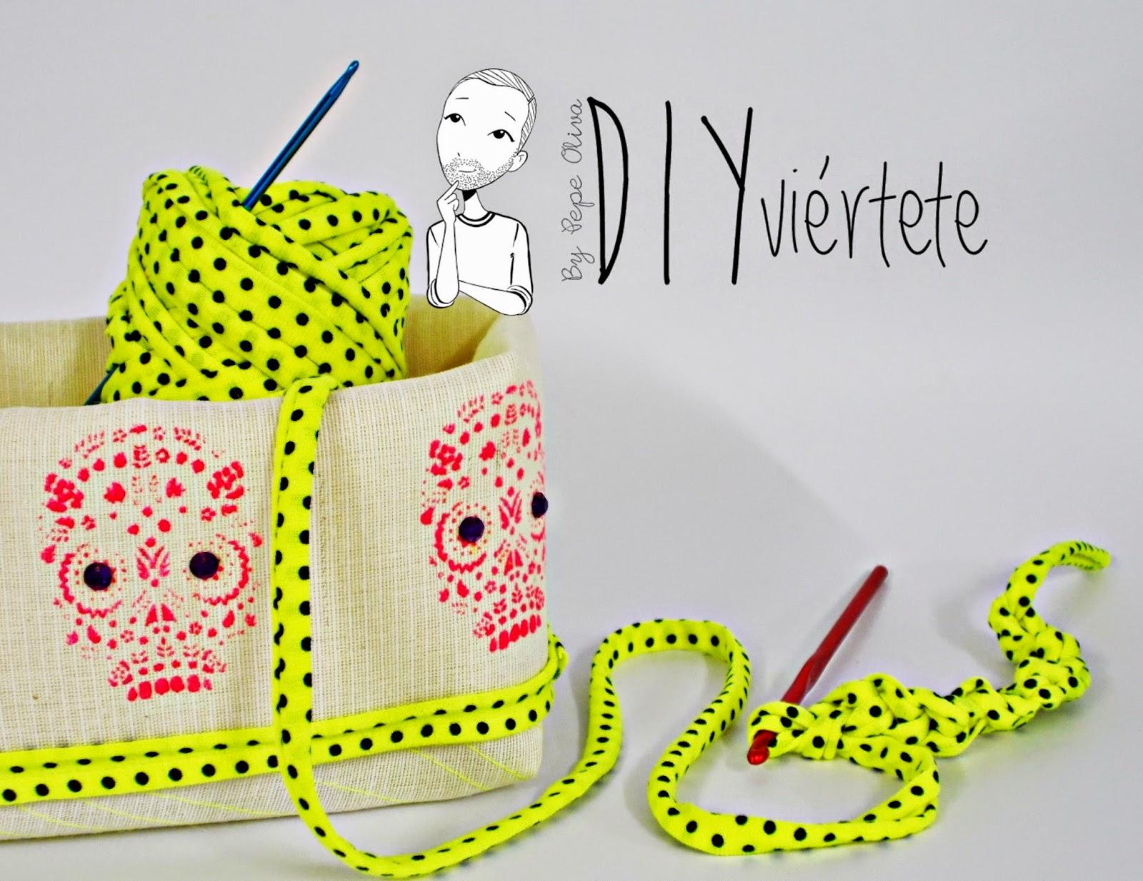 DIY-cesto-costura-tela-calavera-día de muertos-México-flúor-trapillo-halloween-caramelos-2