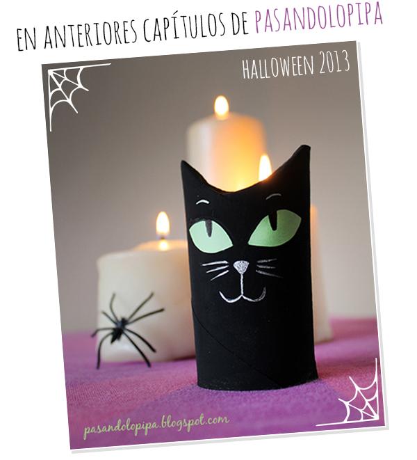 pasandolopipa | gato halloween con rollo de papel higiénico