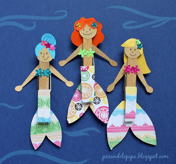 pasandolopipa | sirenas hechas con pinzas de la ropa y papel