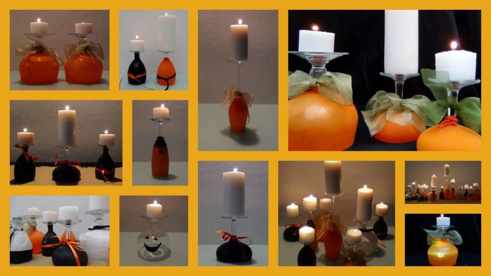 Copas de vino convertidas en portavelas. Wine cups into candleholders