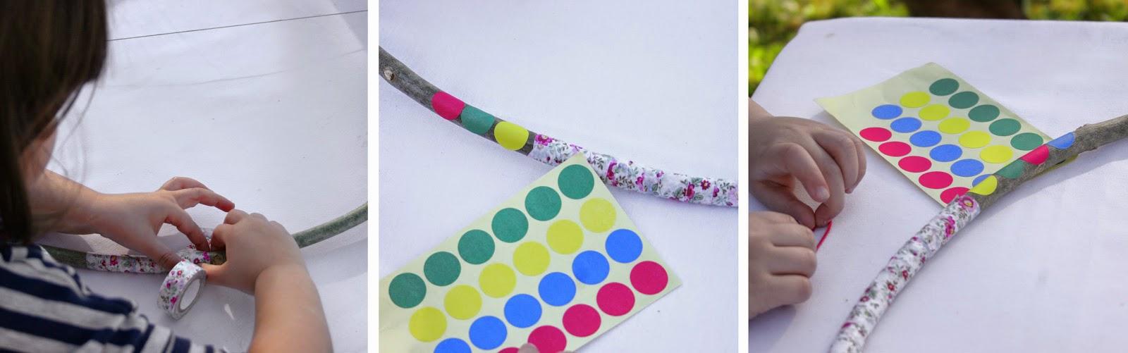 Decorando el arco de indio diy con washi-tape y  gomets