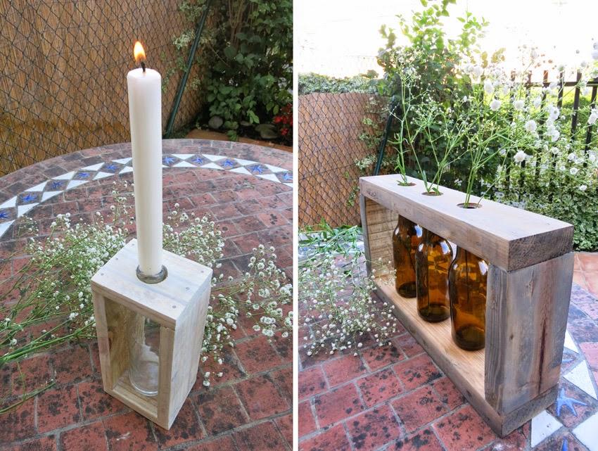 Diy candelabros o floreros con botellas y madera de palet5