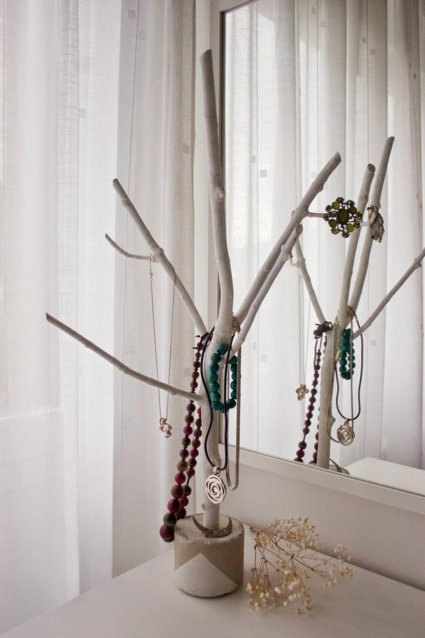 Diy joyero con rama de árbol y cemento6
