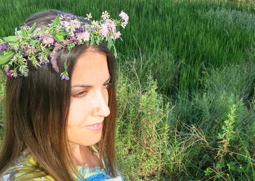 Diy corona de flores silvestres improvisado8
