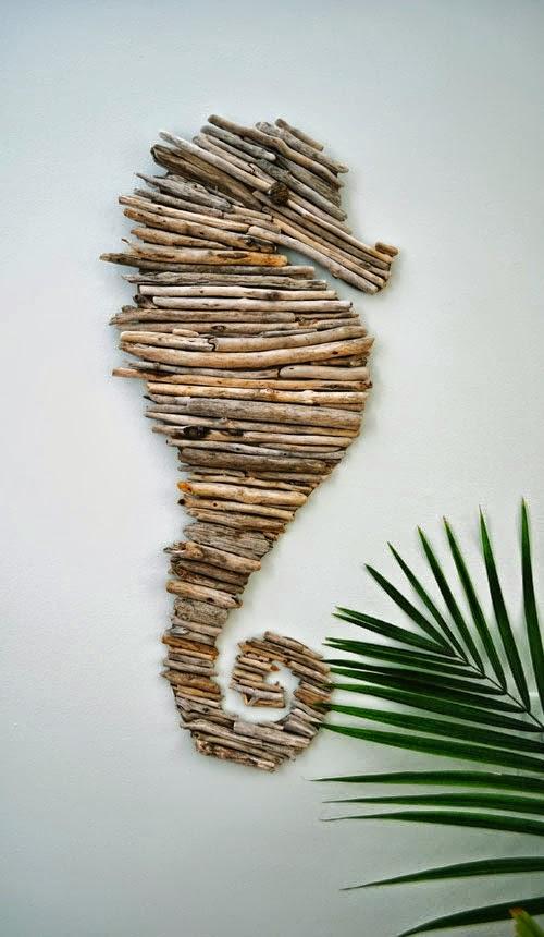 Diy Caballito de mar hecho con madera de deriva encontrada en la playa