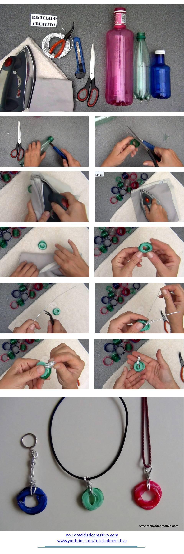 infographic como hacer colgante con cuellos de botella