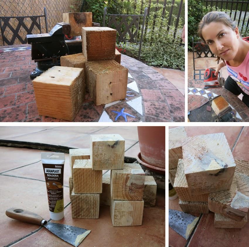 Pequeños arquitectos: Juego de apilables con bloques de palet pintados con chalk paint2