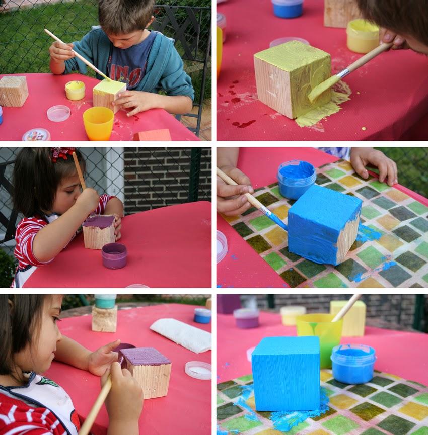 Pequeños arquitectos: Juego de apilables con bloques de palet pintados con chalk paint5