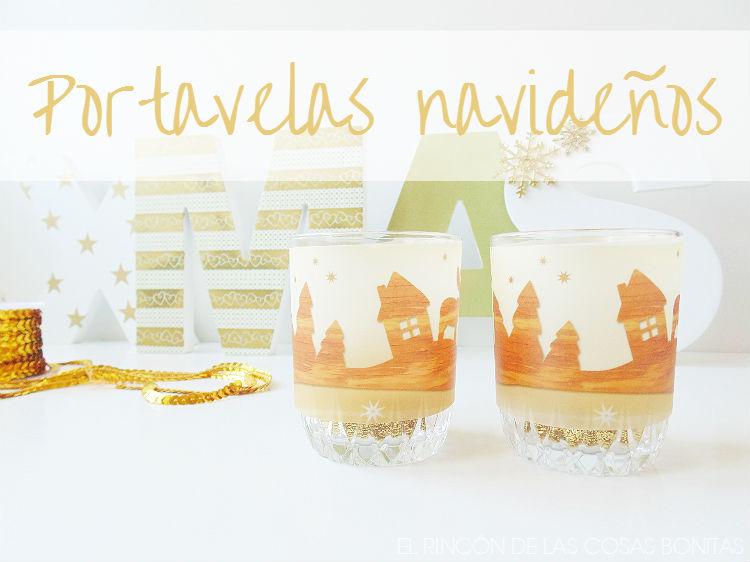 portavelas navideños en vasos de cristal