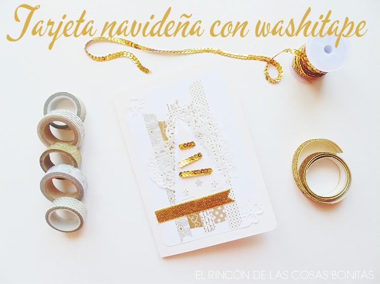 tarjeta de navidad en tonos dorados con washitape