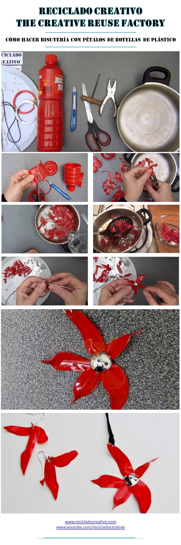 Infographic colgante y pendientes con una botella de plástico rojo