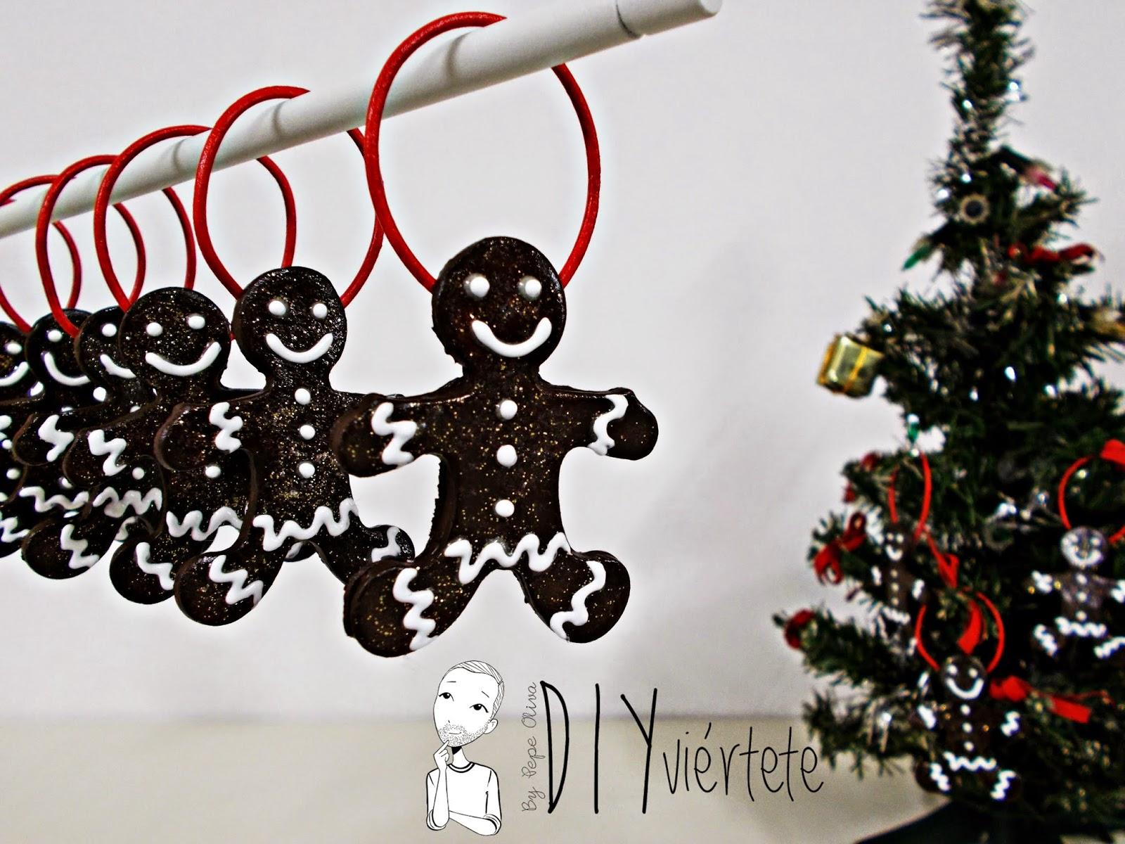DIY-adorno navideño-ideas decoración-pasta de modelar-porcelana fria-fimo-arcilla polimérica-galleta-muñeco jengibre-Navidad- (1)