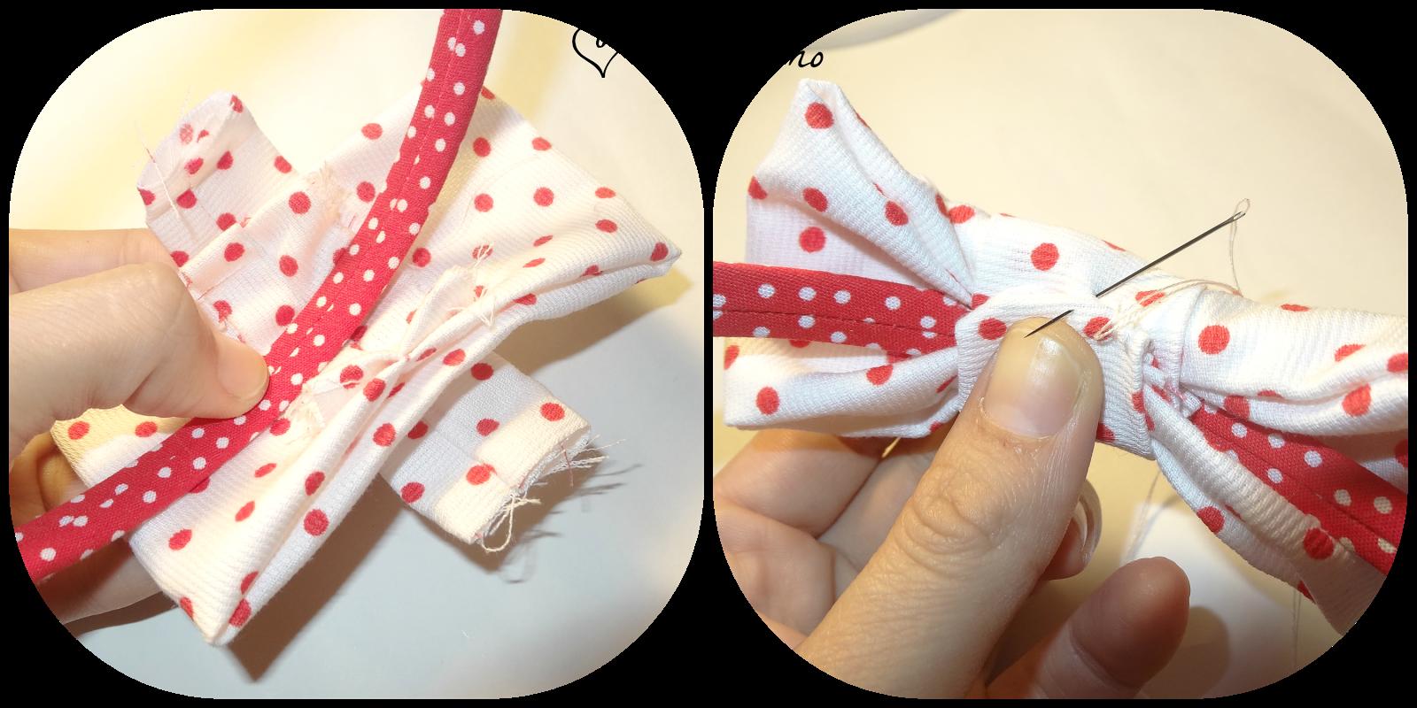 tutorial cómo forrar una diadema y hacer un tocado con lazo paso 4