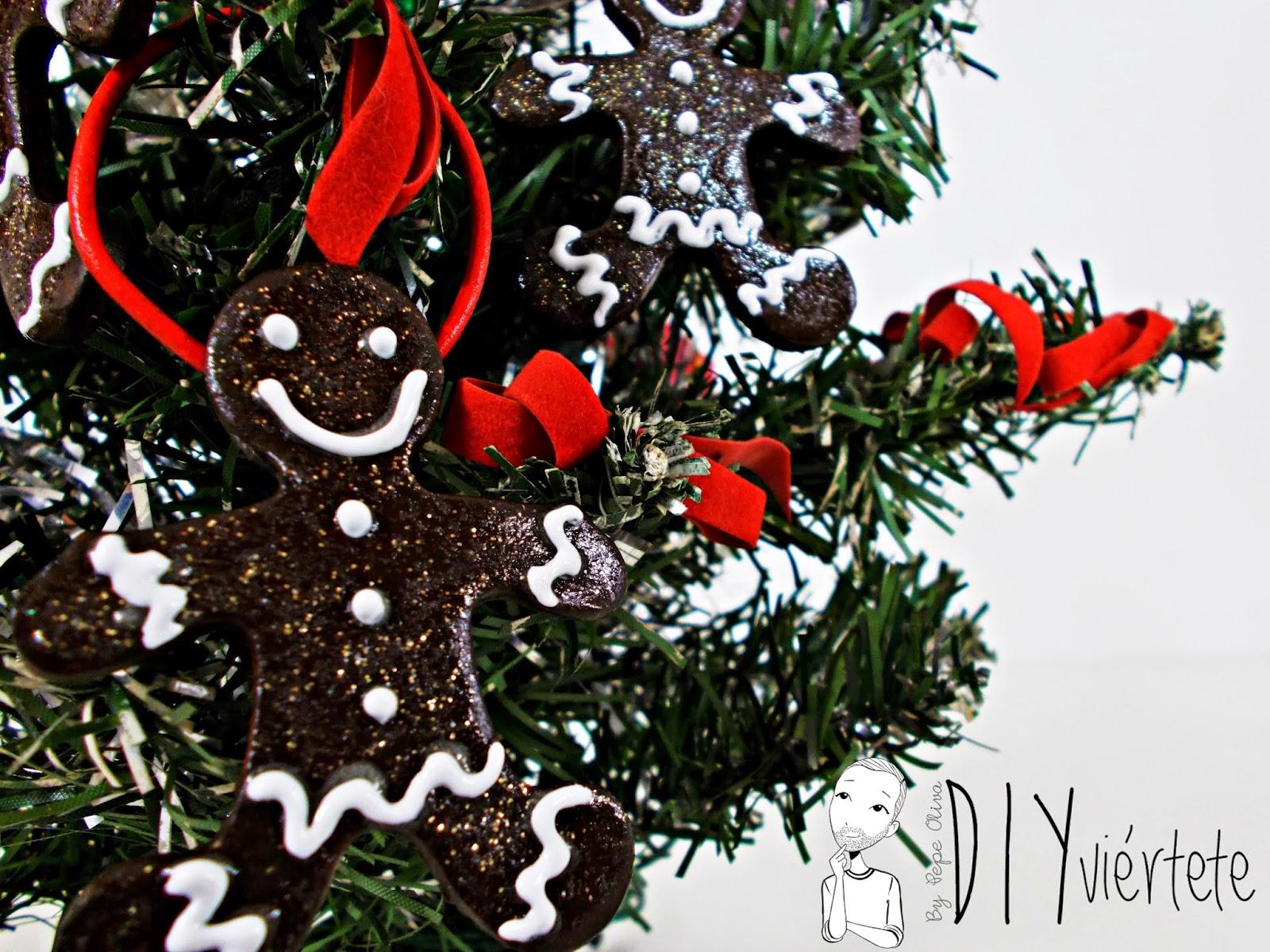 DIY-adorno navideño-ideas decoración-pasta de modelar-porcelana fria-fimo-arcilla polimérica-galleta-muñeco jengibre-Navidad- (2)