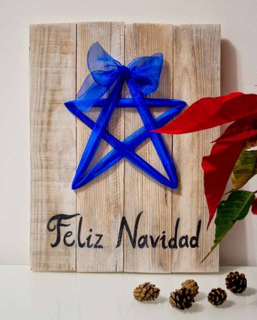 Diariodeco9: Diy Feliz navidad con madera de palet y lazo para Yaicla9