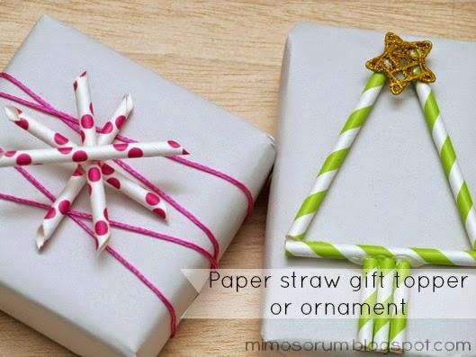 Adornos navideños con pajitas de papel. Diy: gift toppers or ornaments