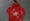 Colgante con forma de flor de color rojo realizado con una botella roja de plástico