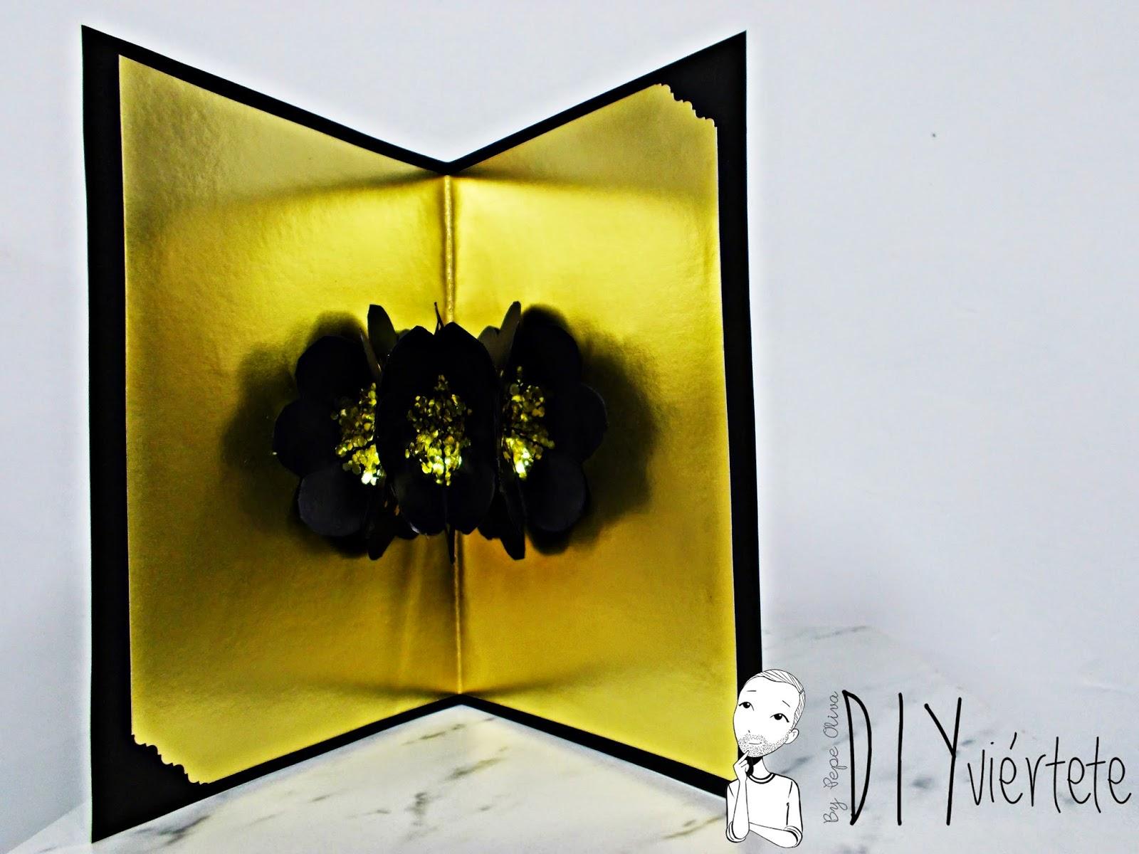 DIY-craft-tarjeta navideña-pop up-navidad-flores-Christmas-felicitación- (1