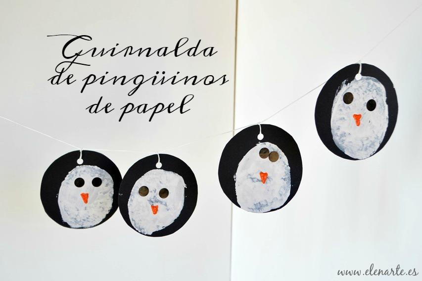 Guirnalda de pingüinos de papel