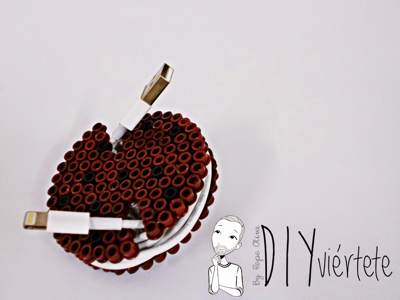 DIY-Hama Beads-ideas-galleta-cookie-guarda auriculares-cables-organizador-1
