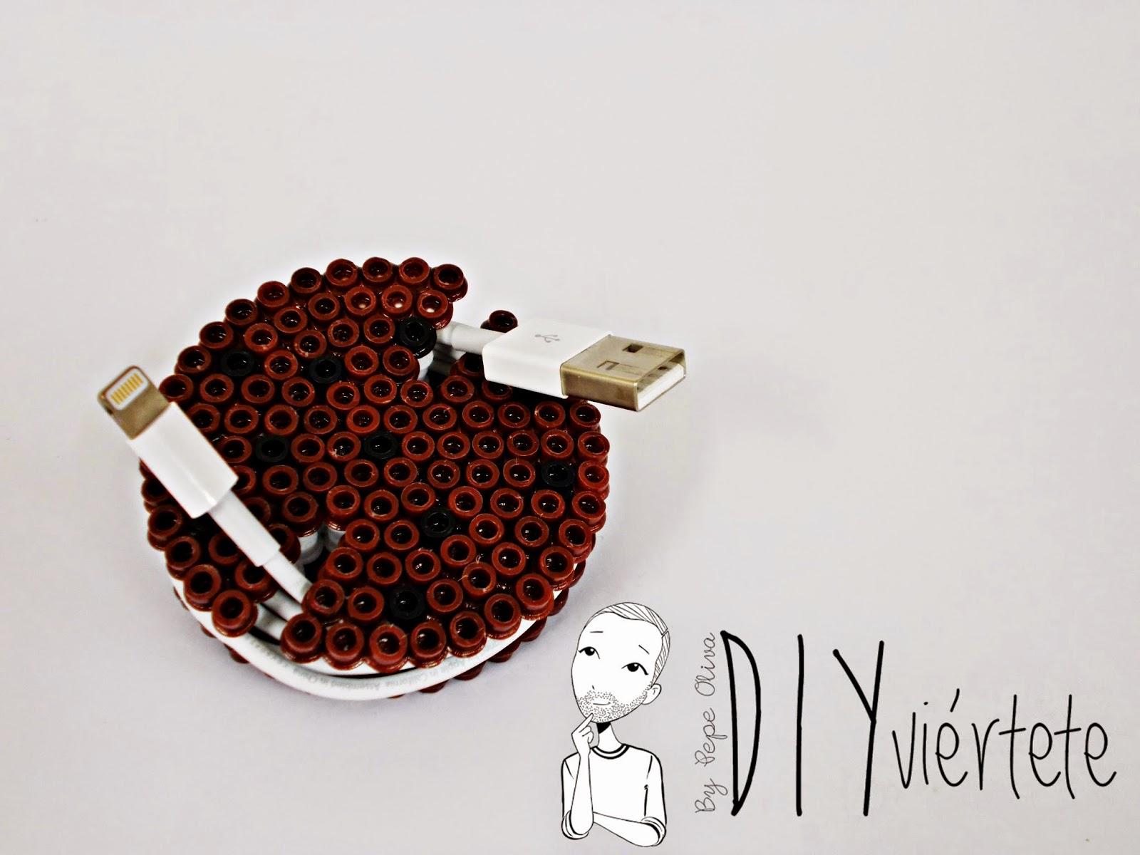 DIY-Hama Beads-ideas-galleta-cookie-guarda auriculares-cables-organizador-8