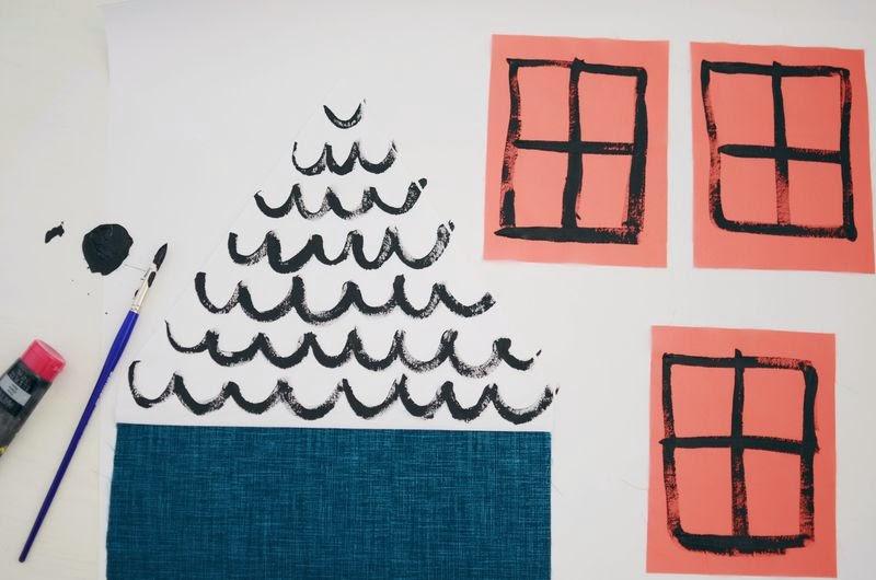 Small & Lowcost: Diy cojín con forma de casa hecho con telas5