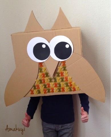 Máscaras-buho-caja-cartón-pasta