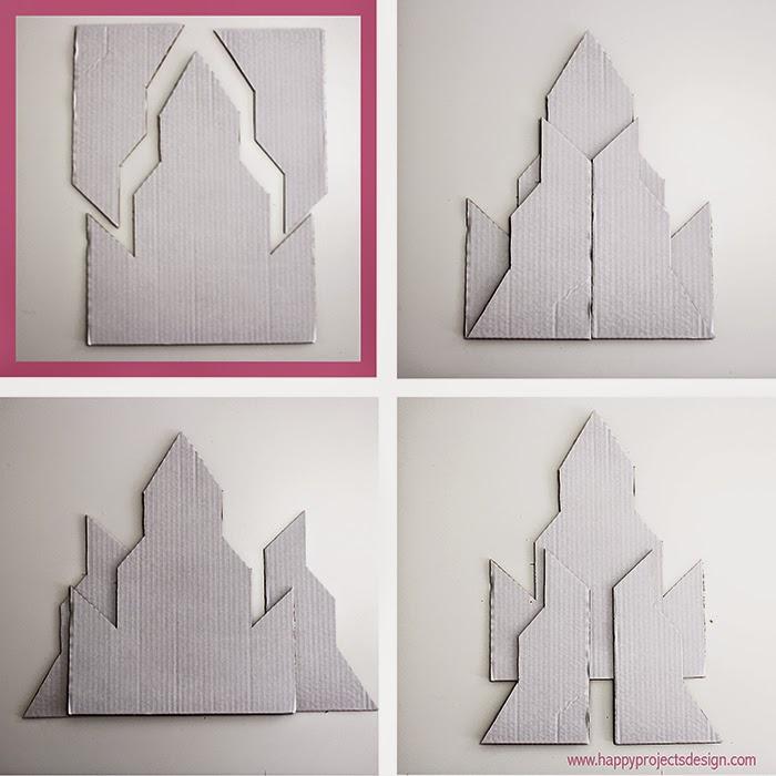 Castillo Frozen DIY en 2D: opciones con 3 trozos