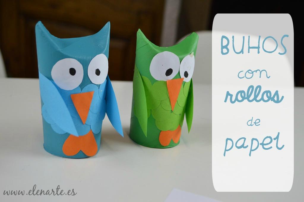 Búhos con rollos de papel higiénico