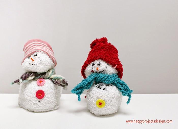 muñeco de nieve con calcetín