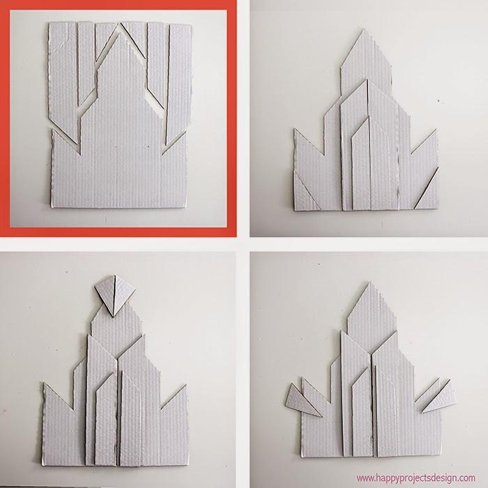Castillo Frozen DIY en 2D: opciones con 6 trozos
