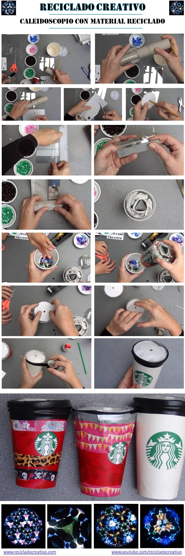 Infografía, cómo hacer un caleidoscopio con dos vasos de starbucks