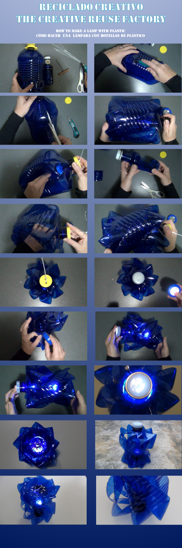 Cómo realizar una lámpara con una garrafa y una botella de plástico recicladas