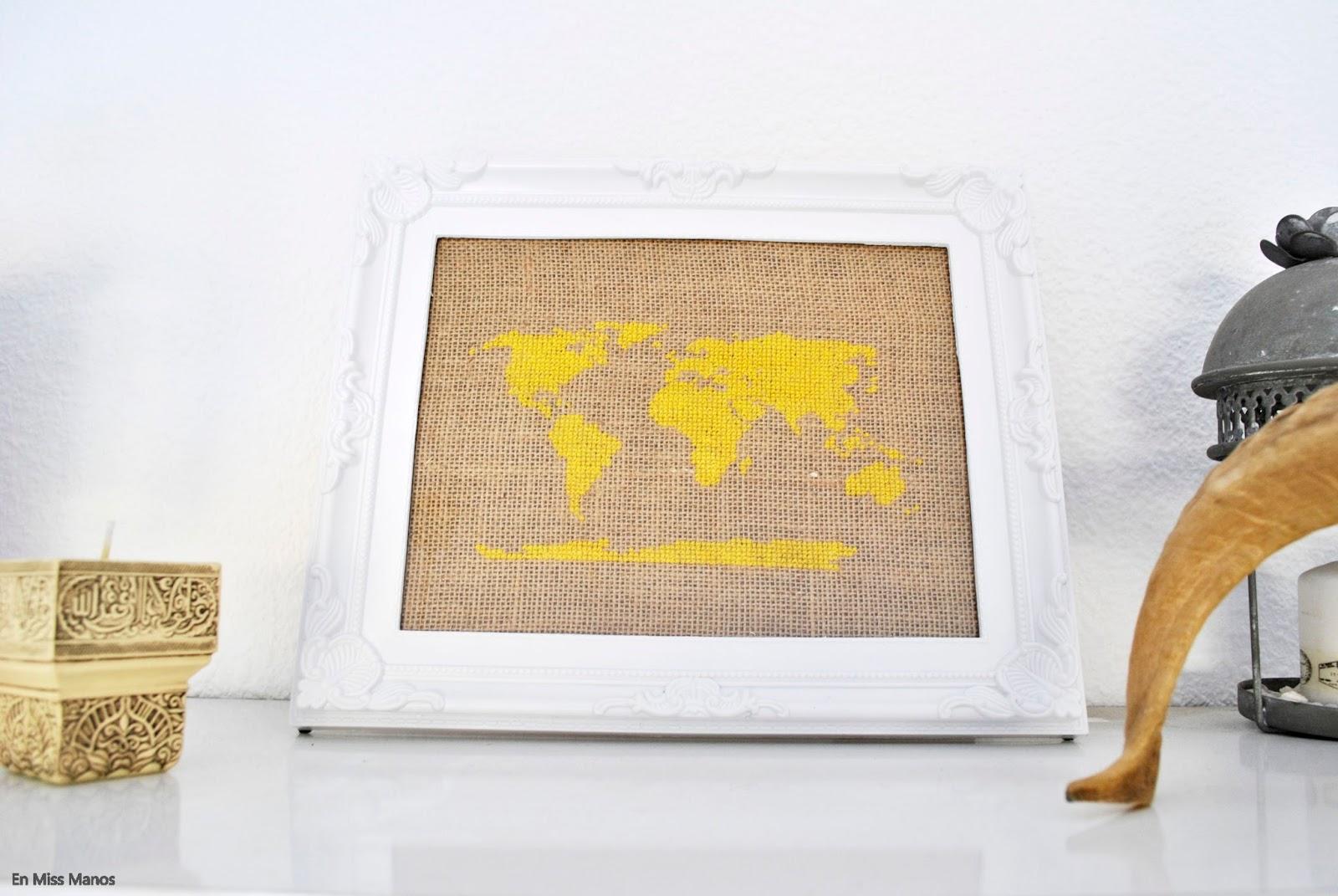 Punto de cruz en decoración + Patrón mapamundi - Handbox Craft ...