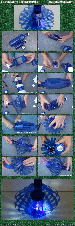 Cómo hacer una lámpara con dos botellas de plástico azules