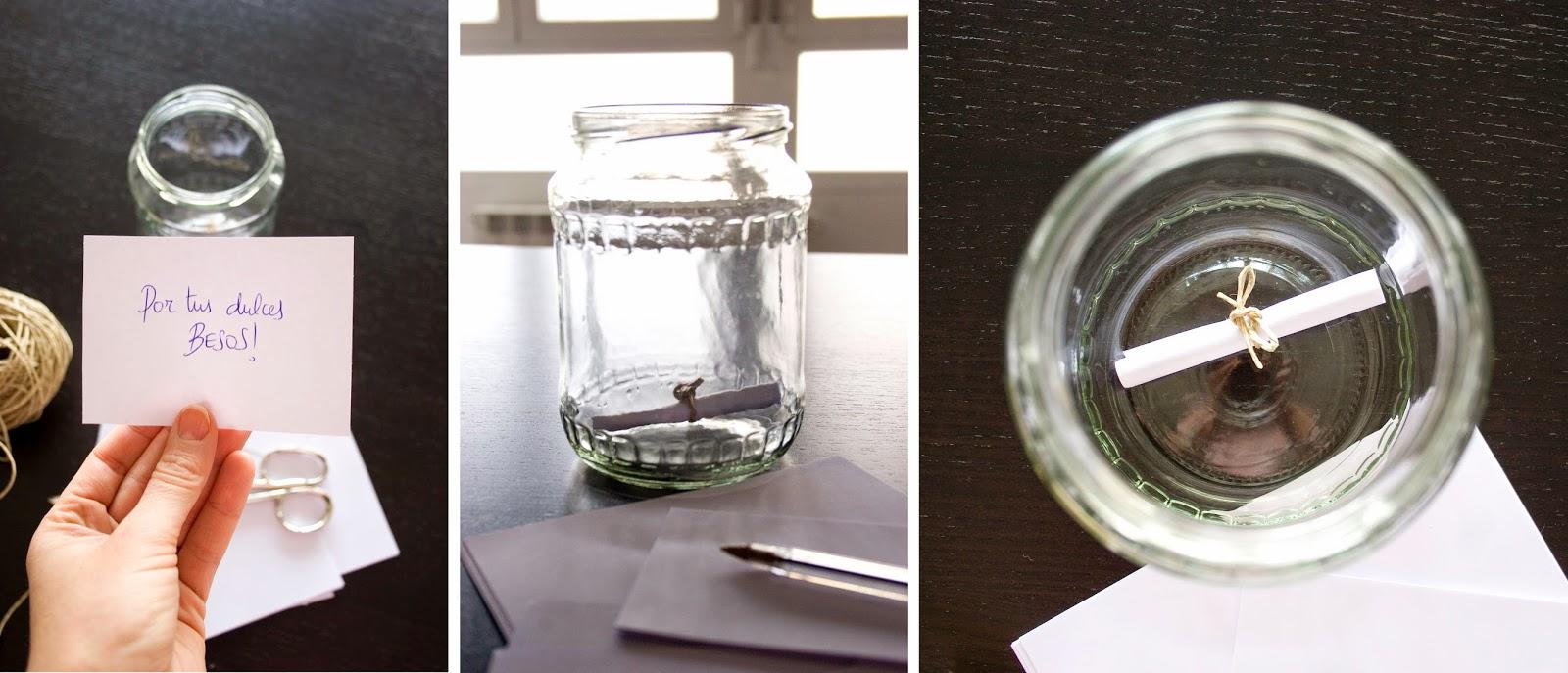 Regalo handmade para San Valentín hecho con bote de cristal y mensajes3