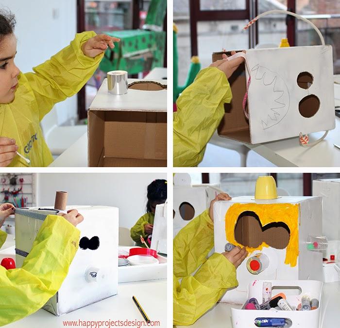 DIY máscaras robot upcycling: corta, pega, pinta