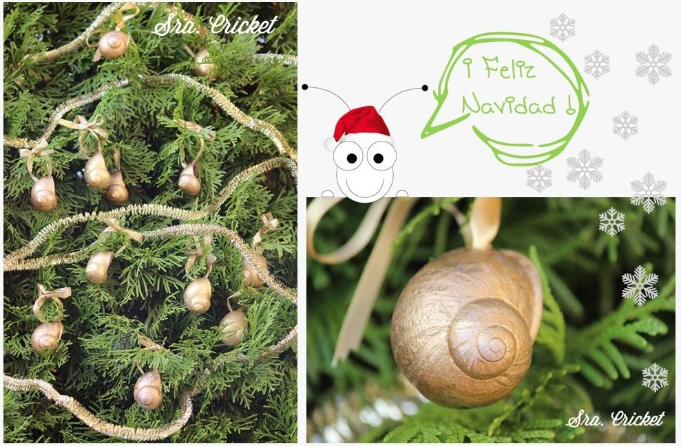 manualidad navideña: adorno árbol navidad con conchas de caracol