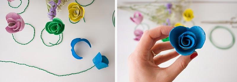 DiariodecoSpring: Diy flores con hueveras de cartón8