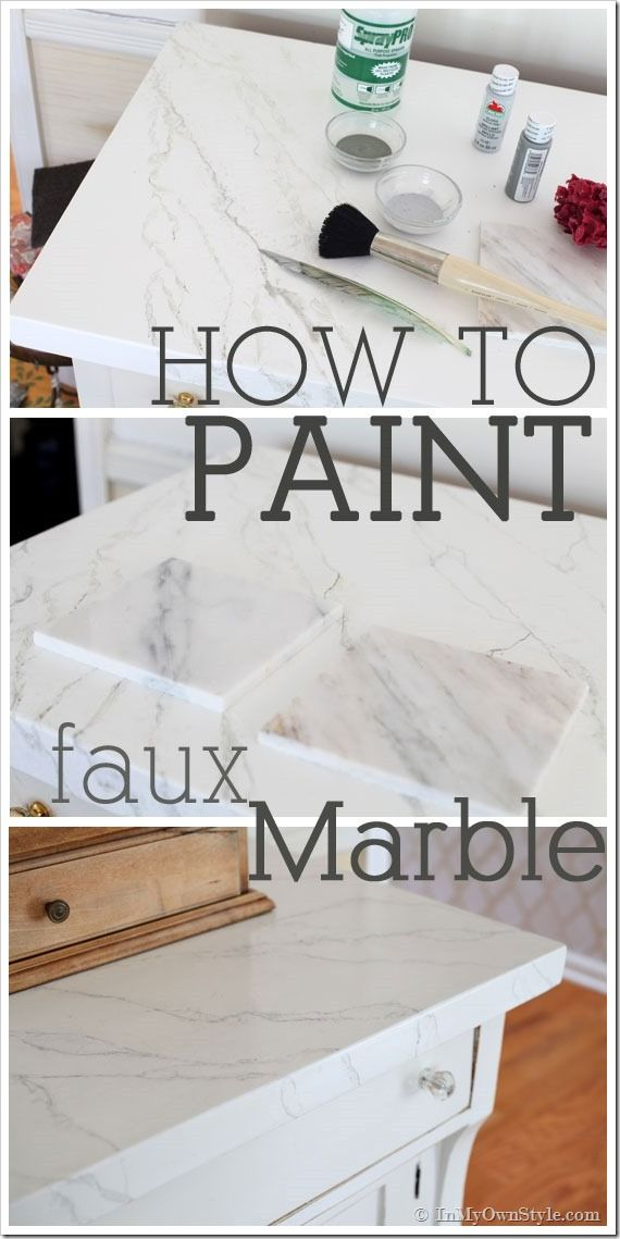 DIY Faux Carrara Marble Painting technique to Makeover Furniture   InMyOwnStyle.com