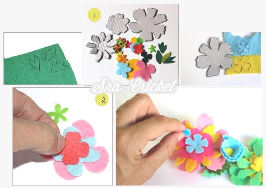 material para corona de flores de fieltro 2